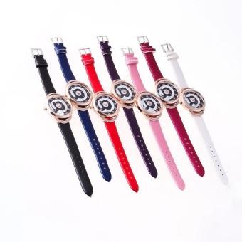 Romantic Fashion Women Crystal Dial Quartz Wrist Watch Dress Watches Leather Band - intl