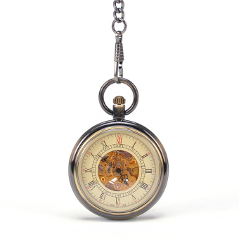 Royal Bronze Cool Vintage Antique Mechanical Pocket Watch With Chain Cool Sales Roman Numbers Vintage Army Design Watch - Intl