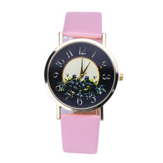 Rural Style Women Fashion Collocation Leather Watch Pink (Intl)