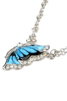 S & F Blue Fashion Crystal Butterfly Pendant Necklace