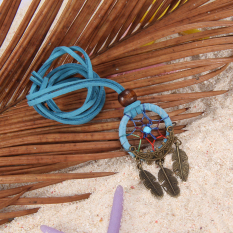 S & F Dreamcatcher Feather Charm Pendant Hand Tied Necklace Blue (Intl)