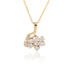 S & F Elegant Swan Necklace Girl Crystal Pendant Trendy Jewelry Gold Filled (Intl)