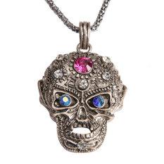 S & F Girl Boy Cool Skull Pendant Necklace Glittering Rhinestone Antique (Silver) (Intl)