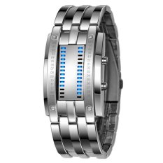 S & F New Mens Waterproof Stainless Steel Digital LED Bracelet Watch (Silver) (Intl)