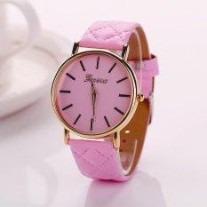 S & F Womens Watches Grid Unisex Leather Quartz Dress WristWatch Pink - Intl