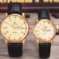 Saint Costie - Jam Tangan Pria & Wanita - Body Gold - Gold Dial - Hitam - Leather Band - SC-JK-G-8003GL-GG