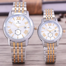 Saint Costie Original Brand, Jam Tangan Pria & Wanita - Body Silver / Gold - White Dial - Stainless Stell Band - SC-RT-8006A-GL-DETIK-SGW-KOMB-COUPLE