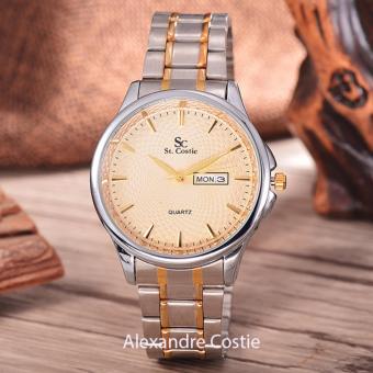 Saint Costie Original Brand, Jam Tangan Pria - Body Silver/Gold - Gold Dial