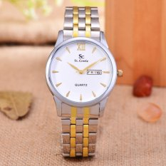 Saint Costie Original Brand, Jam Tangan Wanita - Body Silver / Gold - White Dial - Stainless Stell Band - SC-RT-8008L-SGW