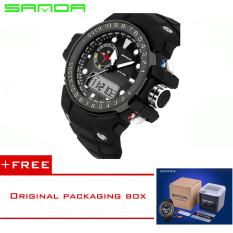 SANDA 2016 New Fashion Brand Digital-watch G Style Outdoor Sports Shock Military Digital Watch Men Quart Wrist Watches For Men 399 (Black) [Buy 1 Get 1 Freebie]