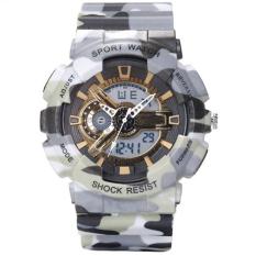 SANDA 2016 New Men's Watch Men Military Sports Camouflage Watch LED Digital Analog Clock Men Fashion Quartz-watch Relojes Hombre (Grey) - INTL