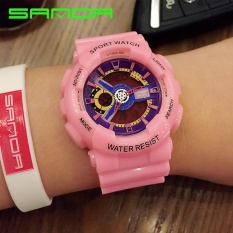 Sanda Brand Solid color strap double display double needle electronic watch 29201 - intl