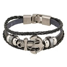 Santorini Gelang Pria Wanita Anchor Steel Studded Leather Men Women Bracelet