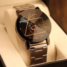 Santorini Jam Tangan Wanita Analog Fashion Watch Stainless Steel Men Women Lady Quartz Analog Wrist Watch - BLACK