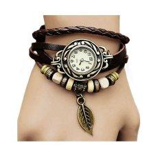 Santorini Jam Tangan Wanita Fashion Leather Strap Leaf Style Women Watch - Brown