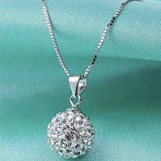 Santorini Kalung Wanita Women 925 Sterling Silver Chain Crystal Stone Necklace Pendant - Silver
