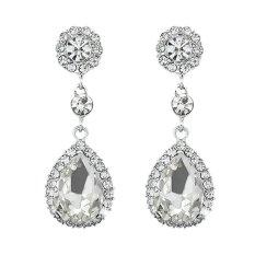 Sanwood® Mewah Wanita Titisan Air Mata Putih Perhiasan Pasangan Anting-Anting Giwang Berlian Imitasi