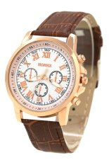 Sanwood Unisex Casual Faux Leather Strap Quartz Analog Wrist Watch Brown Strap & White Dial
