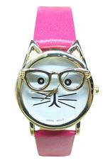 Sanwood Unisex Cute Glasses Cat Faux Leather Analog Quartz Wrist Watch Rose-Red