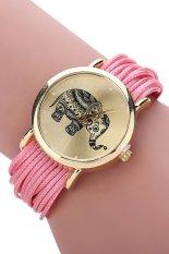 Sanwood Women's Elephant Dial Multi Layers Chain Wrap Bracelet Wrist Watch Pink