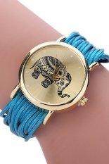 Sanwood Women's Elephant Dial Multi Layers Chain Wrap Bracelet Wrist Watch Sky Blue