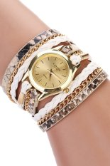 Sanwood Women's Leopard Wrap Braided Faux Leather Analog Quartz Wrist Watch White