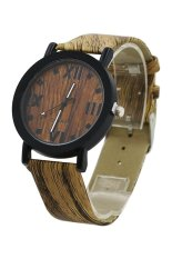 Sanwood Women's Men's Grain Bronze Roman Numerals Faux Leather Wrist Watch Dark Brown