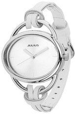 Sanwood Women's Oval Slim Faux Leather Analog Quartz Wrist Watch White