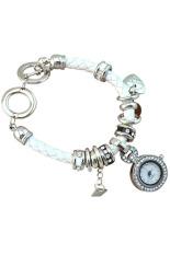 Sanwood Women's Rhinestone Charm Faux Leather Braided Bracelet Watch White