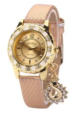 Sanwood Women's Snakeskin Gold Plated Mesh Peacock Rhinestone Wrist Watch Pink