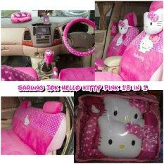 Sarung Jok Bantal Mobil 18 in 1 Hello Kitty Pink Headrest Menyatu (jok 2 baris)