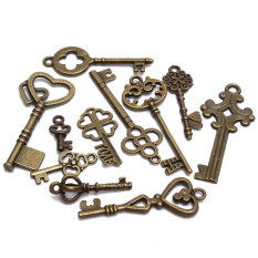 Set Of 11 Antique Vintage Old Look Skeleton Key Pendant Heart Bow Lock Steampunk (Intl)