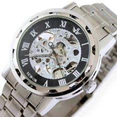 SEWOR Men Skeleton Mechanical Watch Stainess Steel Steel Hand Wind Watches Transparent Steampunk Montre Homme Wristwatch