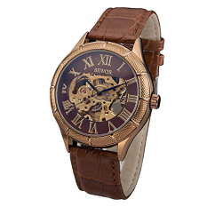 Sewor Rose Gold Skeleton Transparent Mechanical Stainless Steel Leather Sport Watch (Intl)