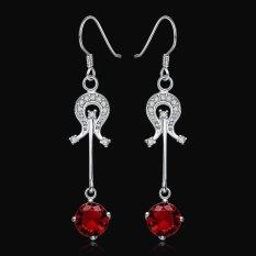 SH Pair Of Stylish Chic Women's Rhinestone Drip Pendant Earrings Red - Intl
