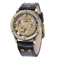 SHENHUA Men's Retro Vintage Steampunk Bronze Watchcase PU Leather Band Alloy Watch Strap Automatic Skeleton Self-winding Mechanical Watch