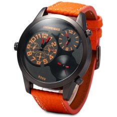 SHIWEIBAO 9399 Male 3 - Movt Quartz Watch with Round Dial Leather Watchband