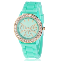 Silicone Golden Crystal Stone Quartz Ladies Women Girl Jelly Wrist Watch (Green) - Intl - Intl