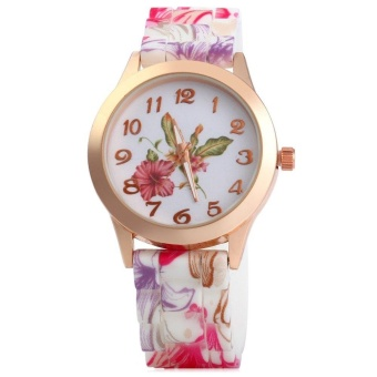 Silicone Printed Flower Causal Quartz Women Wrist Watch With Big Round Golden Dial(Color: