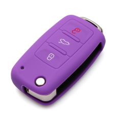 Silicone Remote Flip Key Fob Case Skin Cover 3 Buttons Fit For VW Seat Skoda - Intl