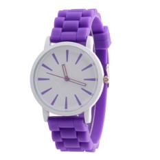 Silicone Rubber Unisex Quartz Analog Sports Women Wrist Watch Purple