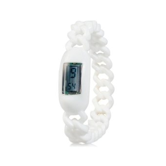 Silicone Waterproof Anion Negative Ion Sports Bracelet Wrist Watch With Calendar Display (White)