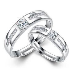 Silver Adjustable Couple Rings Jewelry Affectionate Lovers Rings E024