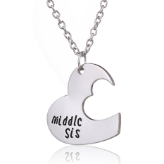 Silver Alloy Cute Love Heart Shape Middle Sister Engraved Charm Pendant Necklace Family Jewelry For Girl (Intl)