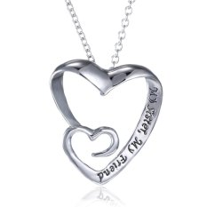 Silver Plated Lettering Engrave Family Love Pendant Necklace Gift Double Peach (Intl)