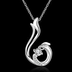 Silver Plated Pendant Necklaces For Women Silver Plated Chain Jewelry N660 For Day Wear Anniversary Nickle Free - Intl