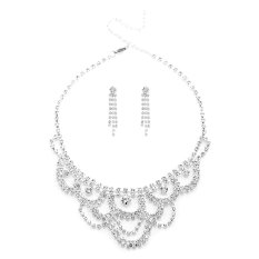 Silver Plated Rhinestone Necklace Dangle Earrings Studs Bridal Jewelry Sets