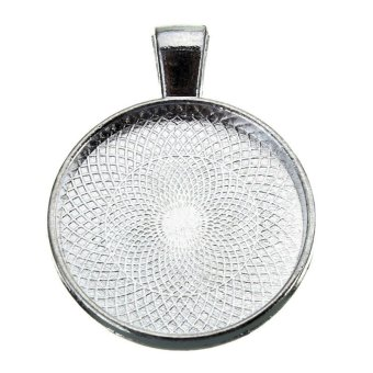 Silver Round Plating Necklace Pendant Photo Frame Base Tray Pallet 20mm - Intl