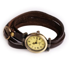 Simple Leather Vintage Female Bracelet Lady Woman Quartz Watch Wristwatch Brown - intl