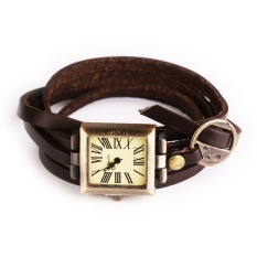 Simple Leather Vintage Female Bracelet Quartz Watch Square Wristwatch Brown - intl